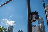 Don't walk hand signal, walking street traffic lights
