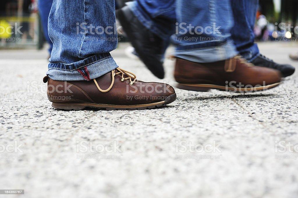 Pedestrian on tiled street royalty-free stock photo