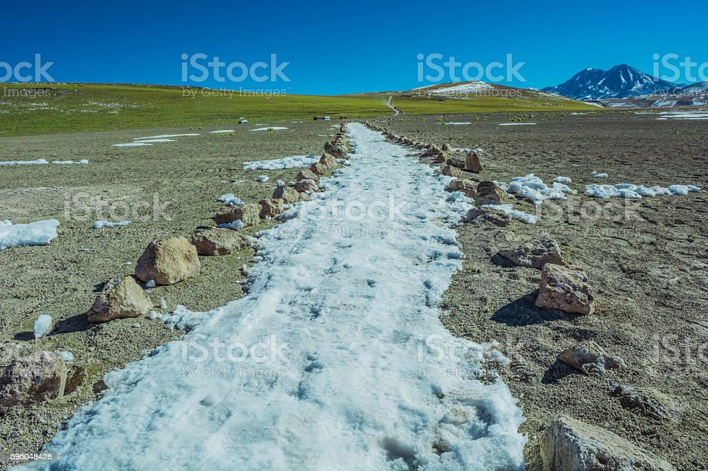 Pedestrian path at the atacama desert royalty-free stock photo