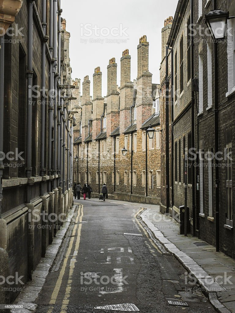 Pedestrian road in Cambridge (UK) stock photo