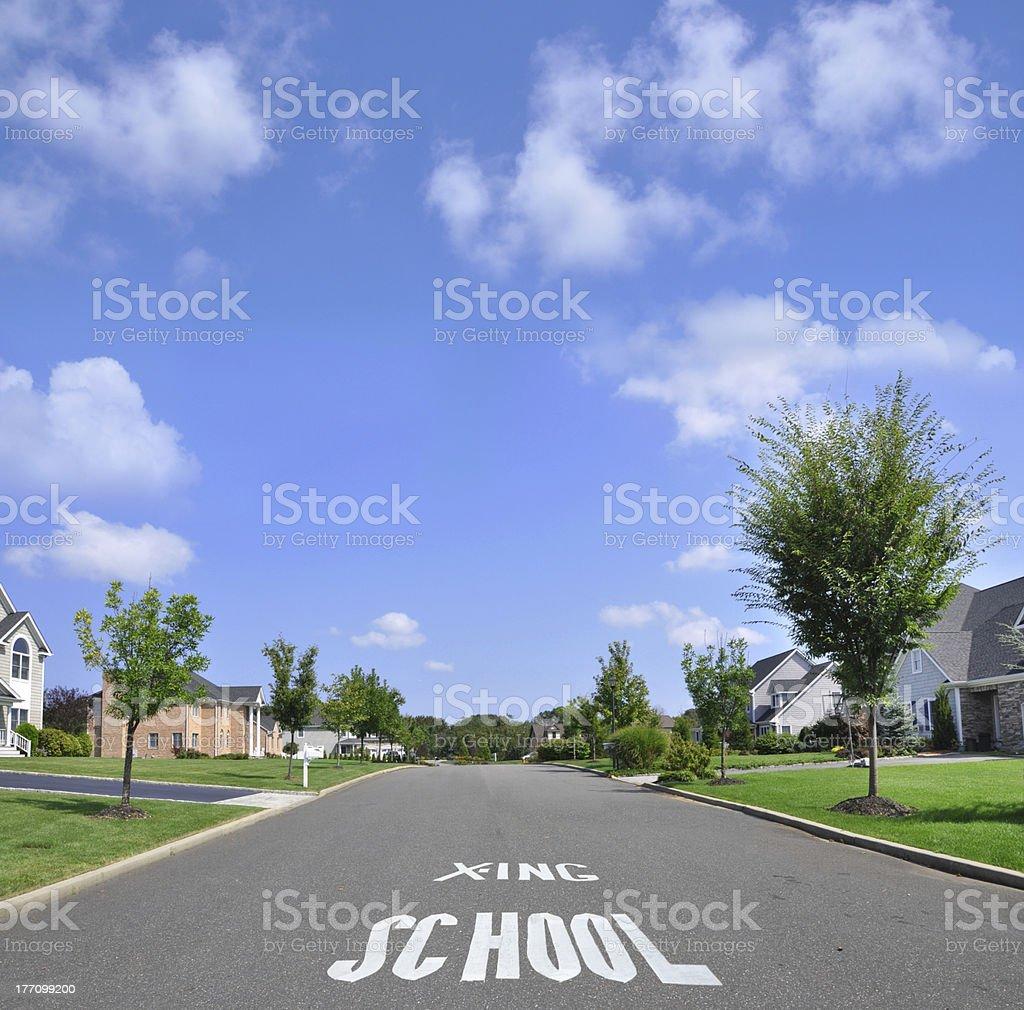 Pedestrian School Crossing on Suburban Residential Neighborhood Street stock photo