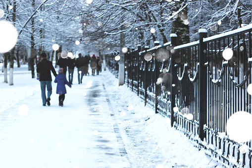 pedestrian sidewalk the fence winter