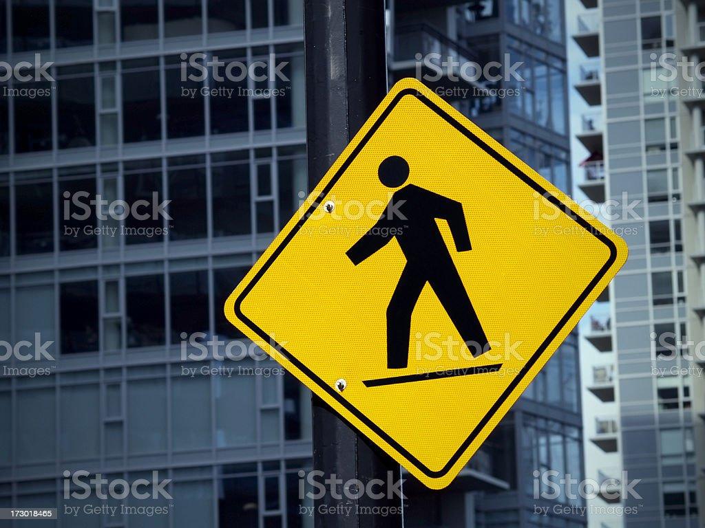 Pedestrian sign, downtown stock photo