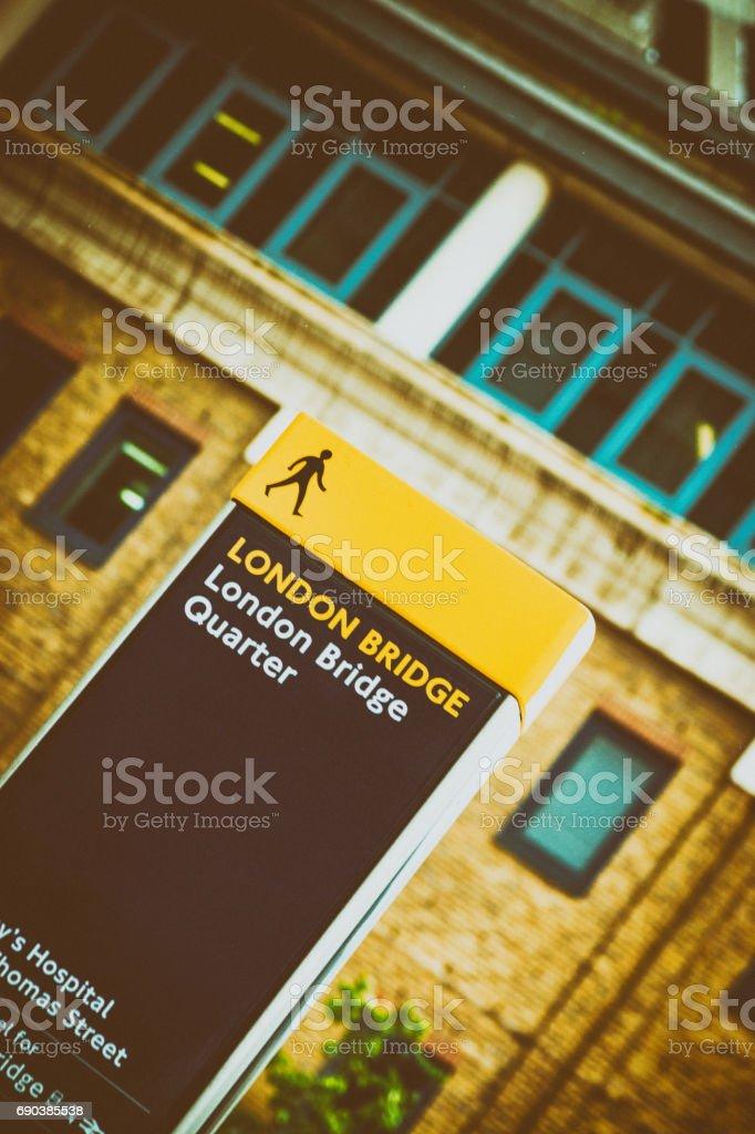 Pedestrian sign for London Bridge stock photo