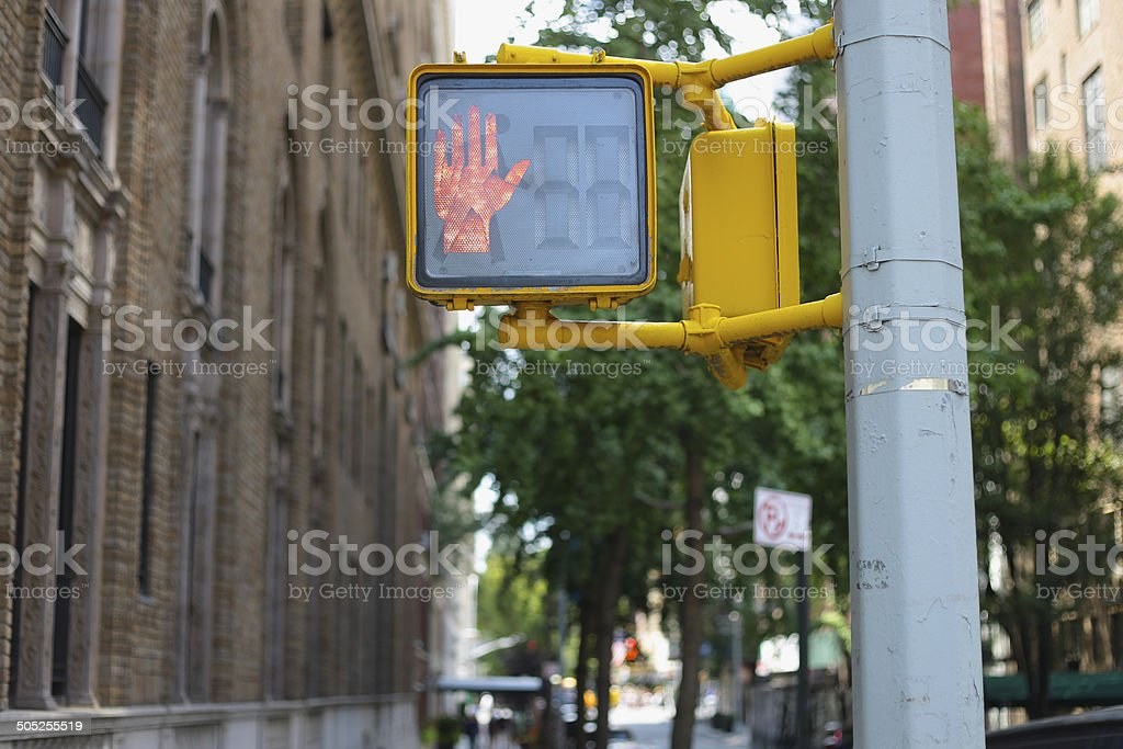 Pedestrian Signal in New York City stock photo