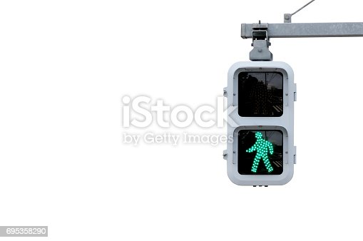 Japanese pedestrian signal isolated on white.
