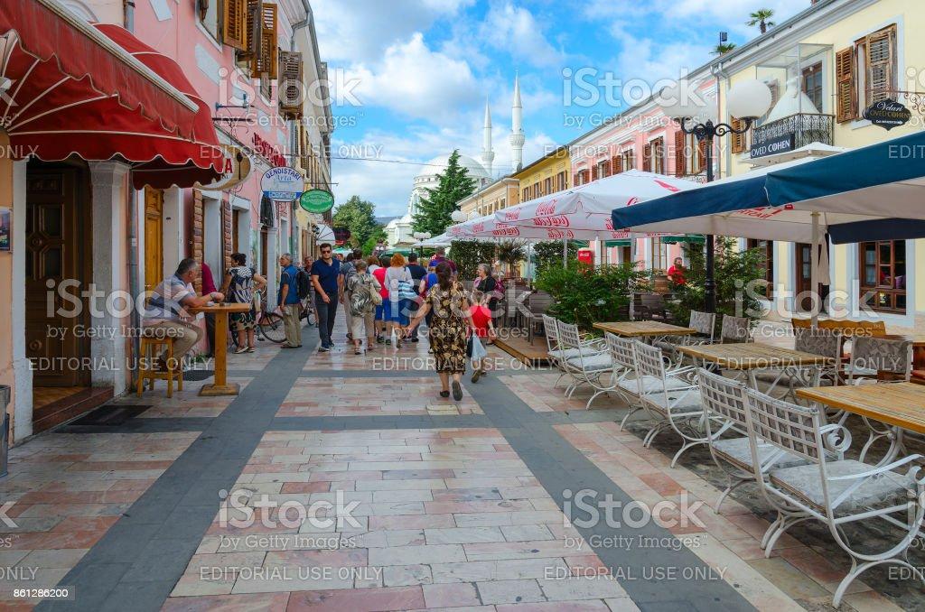 Pedestrian street (Rruga Kole Idromeno) in center of town of Shkoder, Albania stock photo