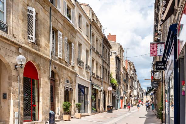 Pedestrian street in historic centre of Bordeaux stock photo