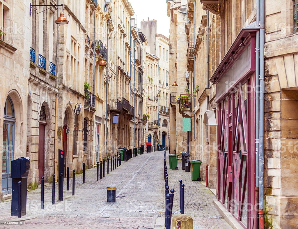 Pedestrian Street in Old City, Bordeaux stock photo