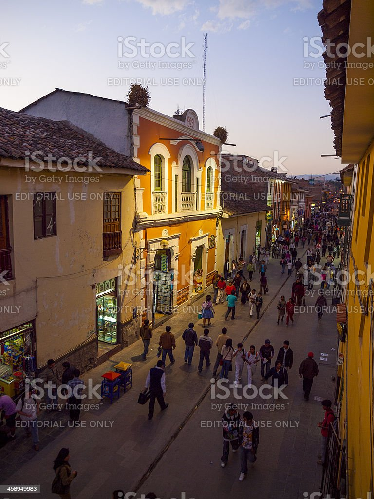 Pedestrian street in the historic part of Ayacucho, Peru stock photo