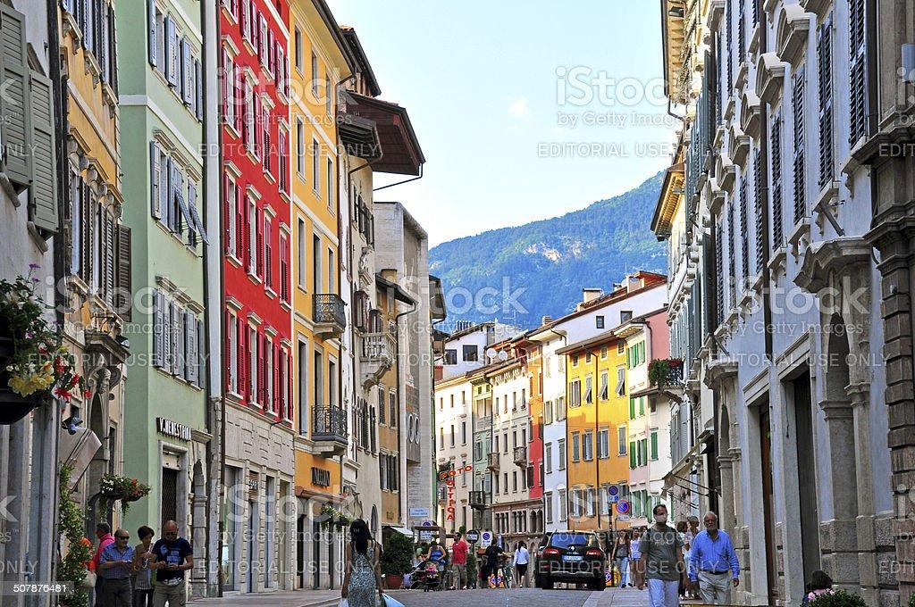 Pedestrian street in Trento, Italy stock photo