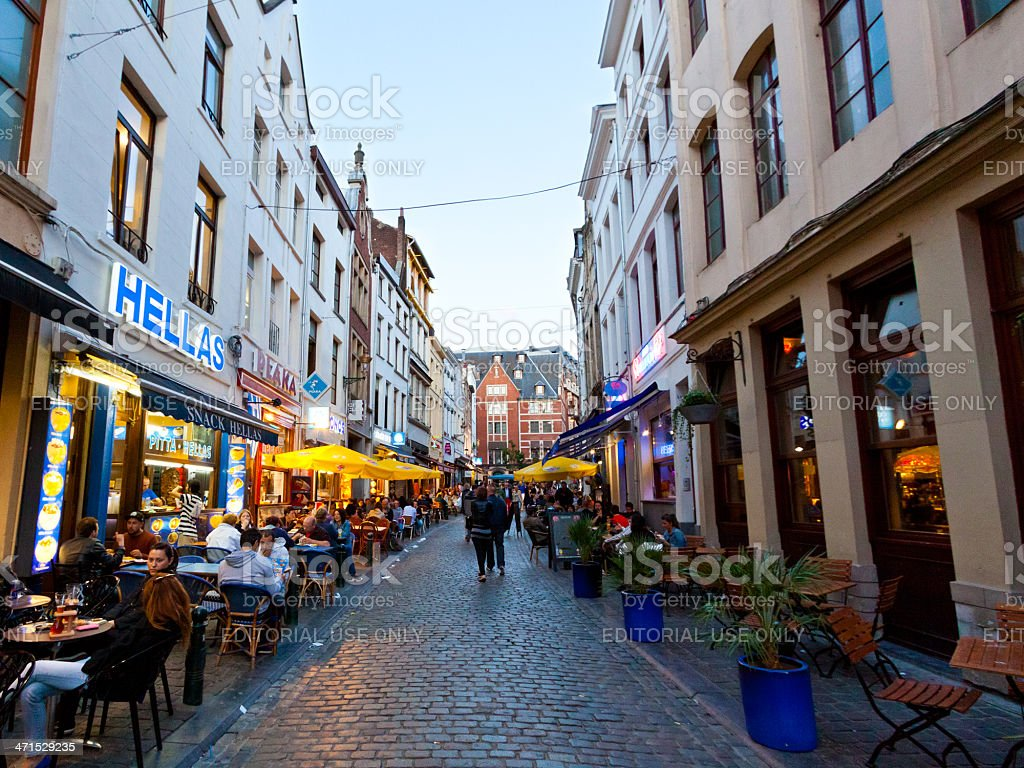 Pedestrian street lined with restaurants, Brussels. royalty-free stock photo