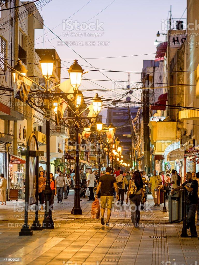 Pedestrian street, Santo Domingo, Dominican Republic royalty-free stock photo