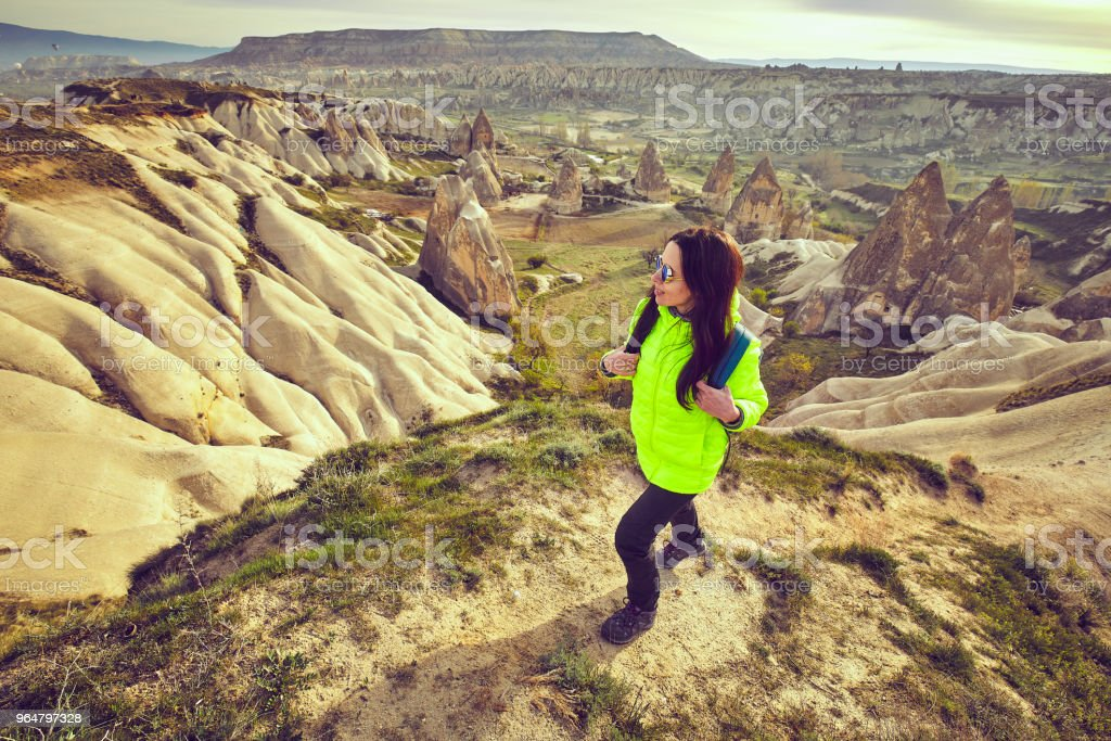 Pedestrian tourism, people travel with backpacks, in the open air. royalty-free stock photo