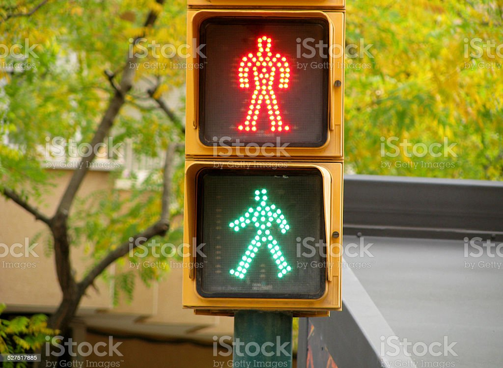 Pedestrian traffic lights green and red light stock photo