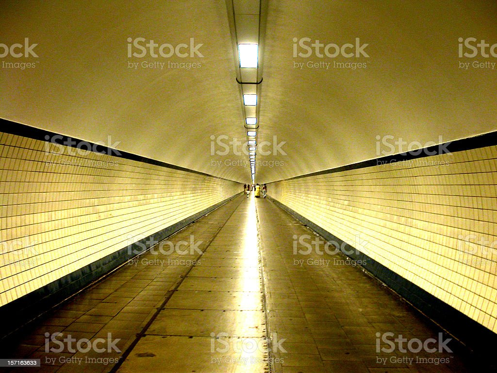 Pedestrian Tunnel Antwerp stock photo