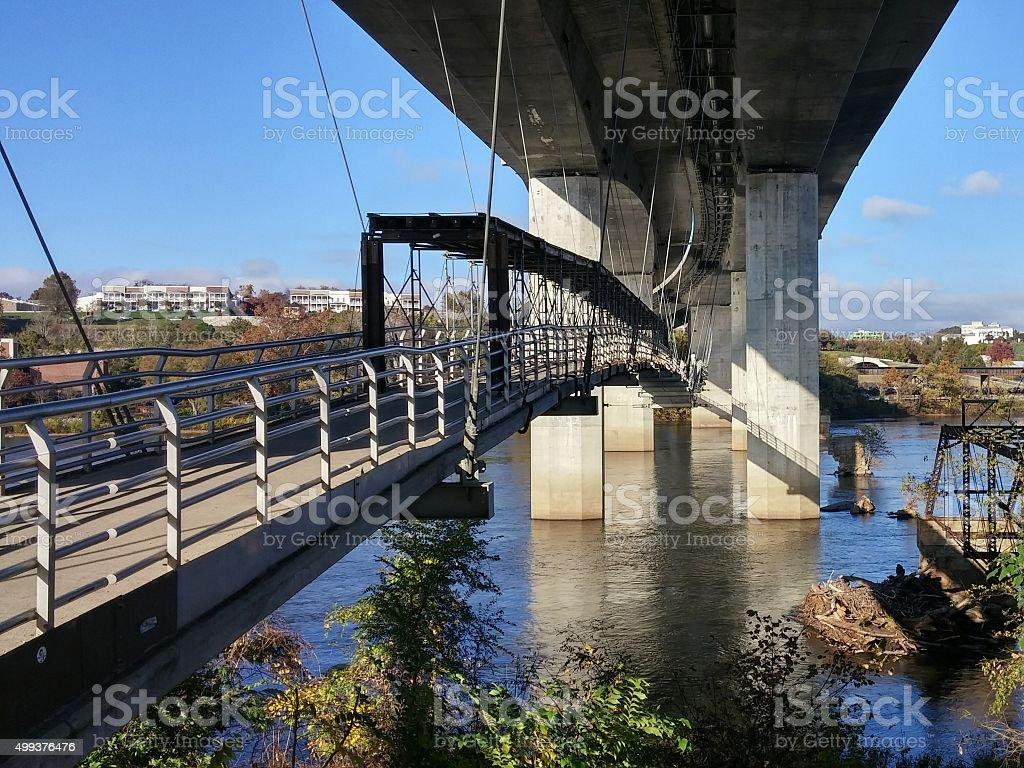 Pedestrian Walking Suspension Bridge to Richmond from Belle Isle, Virginia stock photo