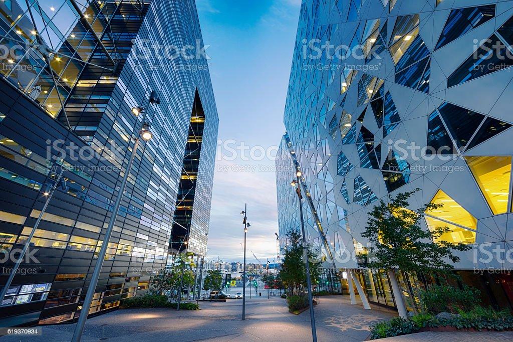 Pedestrian Walkway in Business District, Between Modern Buildings of Oslo stock photo