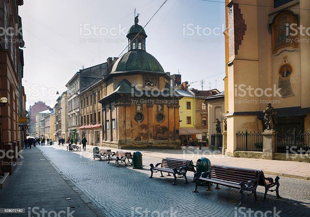 Pedestrian Walkway in Old City of Lviv, Ukraine royalty-free stock photo