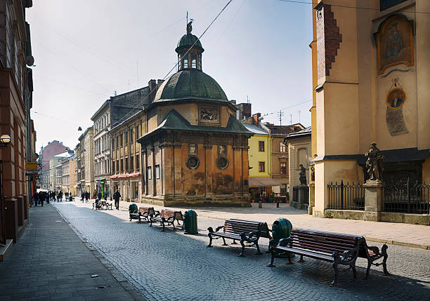 Pedestrian Walkway in Old City of Lviv, Ukraine stock photo