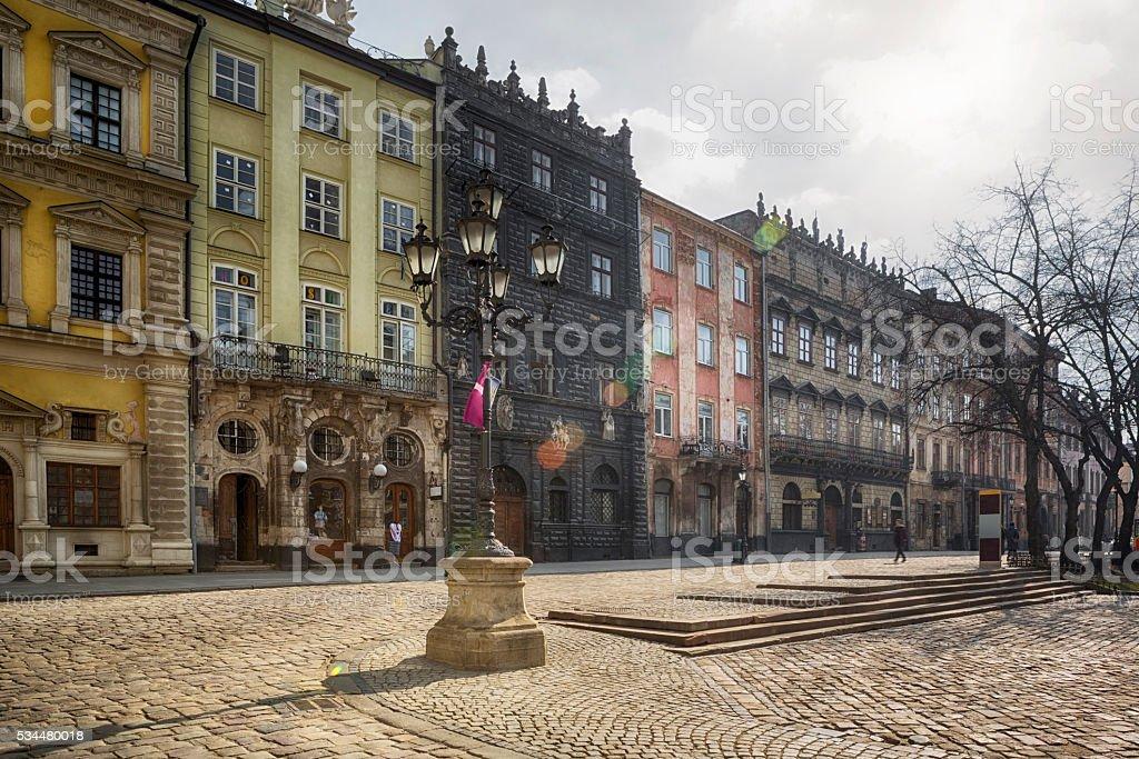 Pedestrian Walkway in Old City of Lviv, Ukraine stock photo