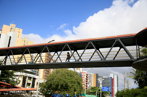 salvador, bahia, brazil - february 5, 2021: pedestrian walkway is seen on avenue ACM in the city of Salvador.