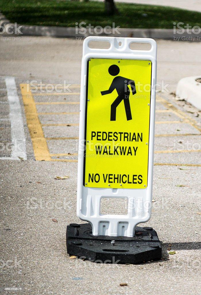 Pedestrian Walkway Yellow Sign royalty-free stock photo