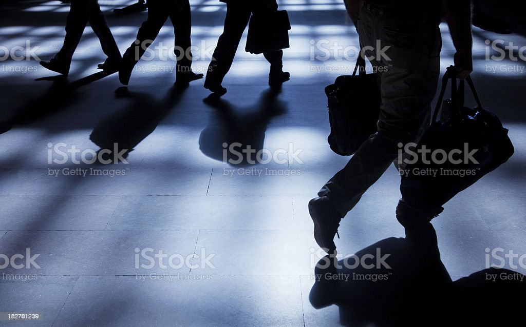 Pedestrian with shadows in NYC royalty-free stock photo