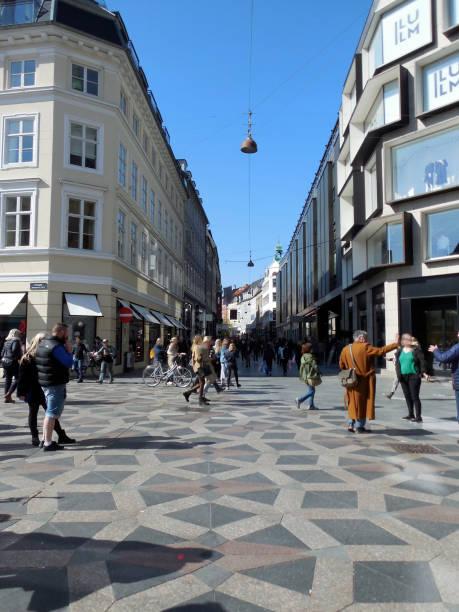 Pedestrian Zone at Strøget, Copenhagen Denmark stock photo