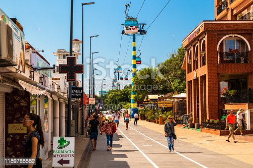 Mamaia, Constanta, Romania - june 15 2019: Pedestrian zone in Mamaia, popular resort in Constanta by the Black Sea, Romania