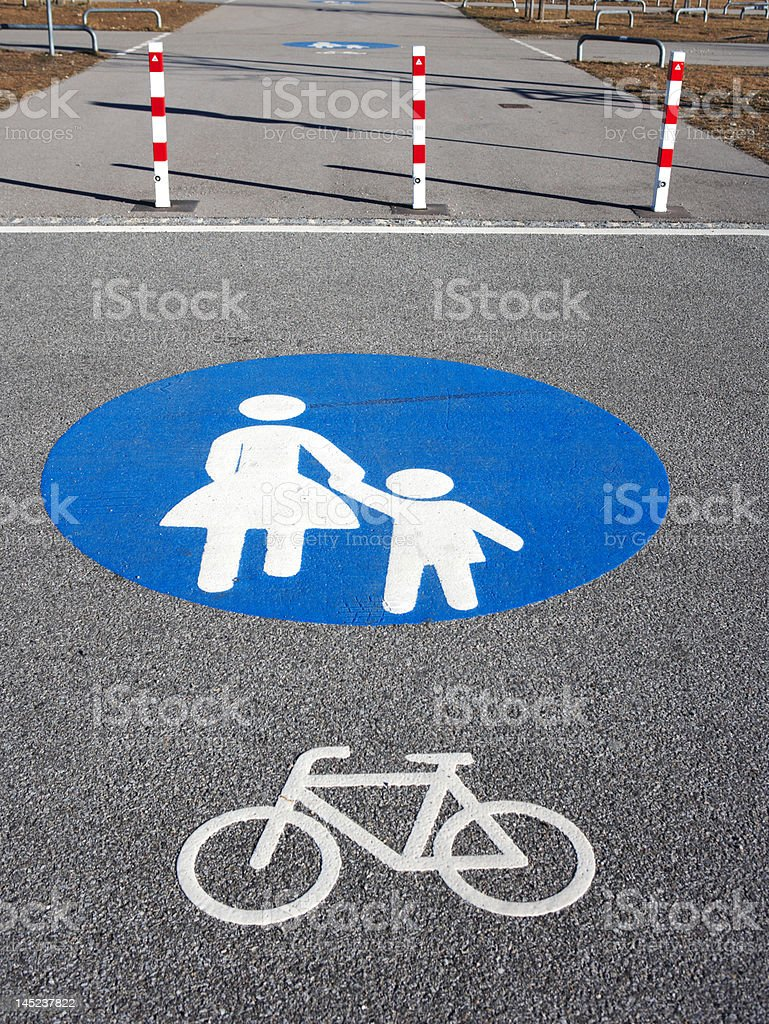 pedestrians and bicycles only stock photo
