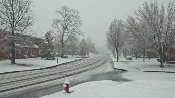 fotgängare och trafik flytta ner på gatan under en snöstorm i carroll trädgårdar, brooklyn. - cold street bildbanksfoton och bilder