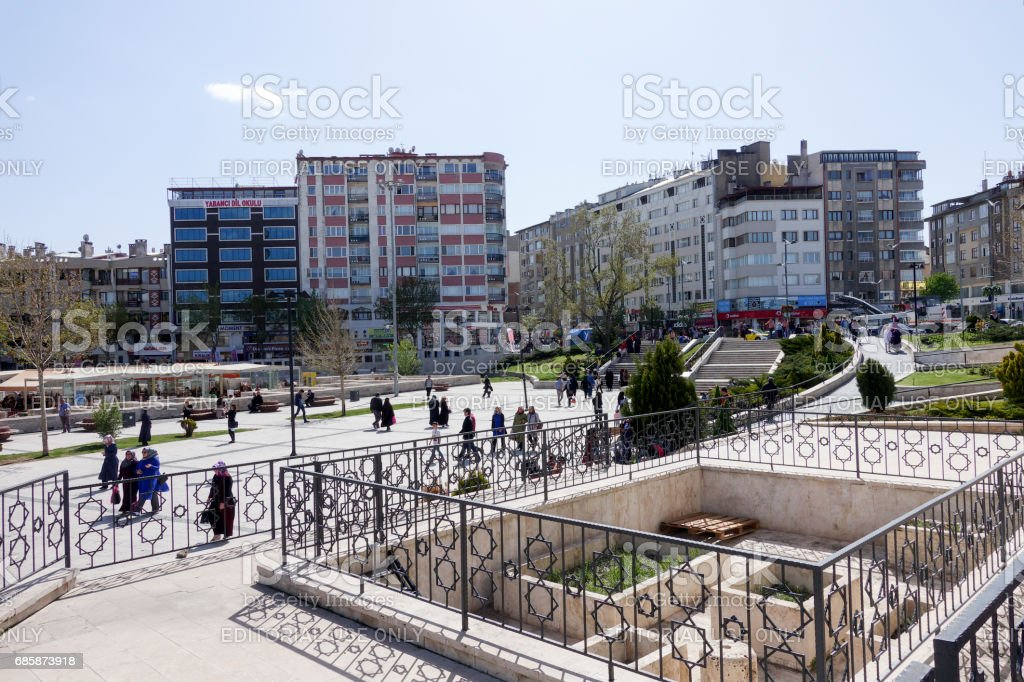 Pedestrians are walking at the town square of Sivas stock photo
