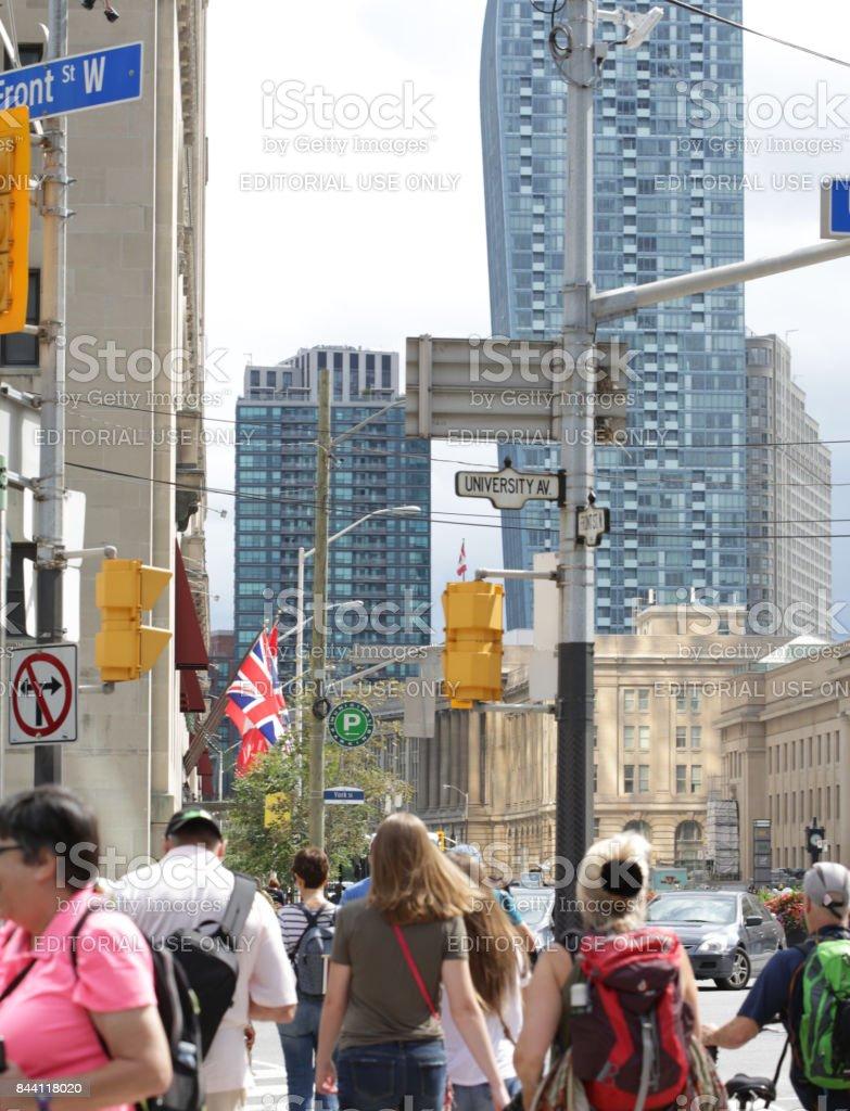 Pedestrians at Toronto Crosswalk at University Avenue and Front Street stock photo