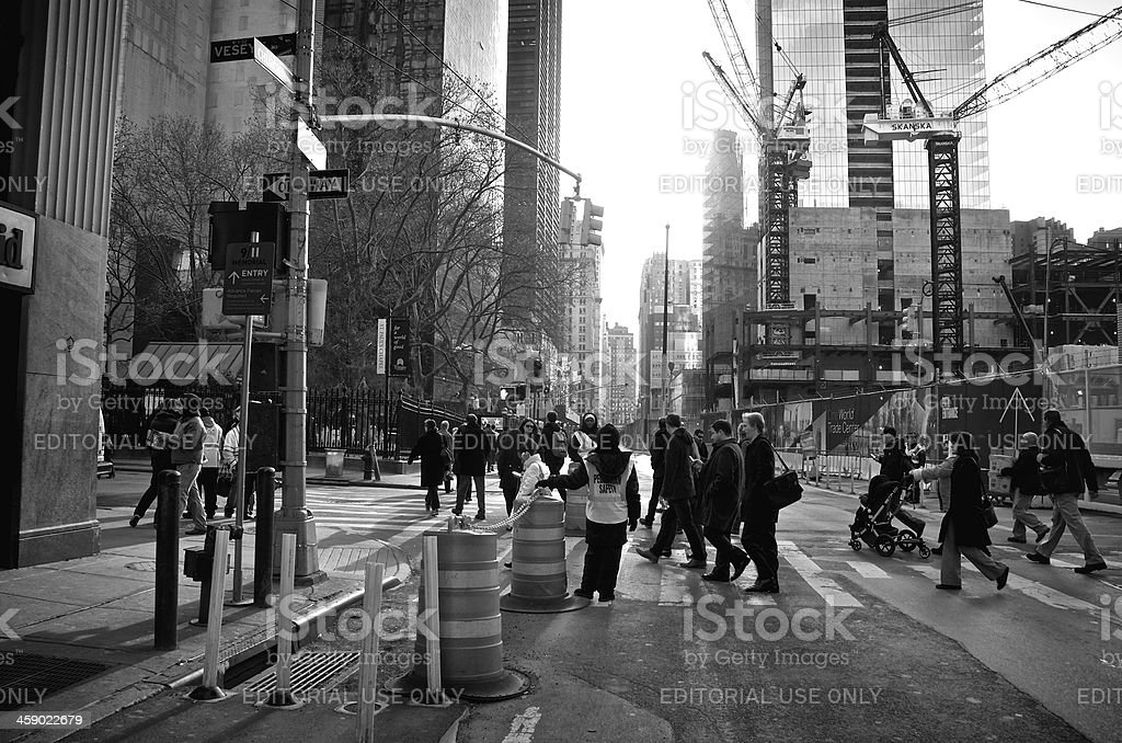 Pedestrians crossing Church Street at Vesey St, Lower Manhattan, NYC stock photo