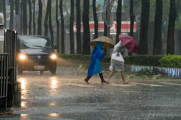 Pedestrians crossing street during Typhoon Megi – Foto