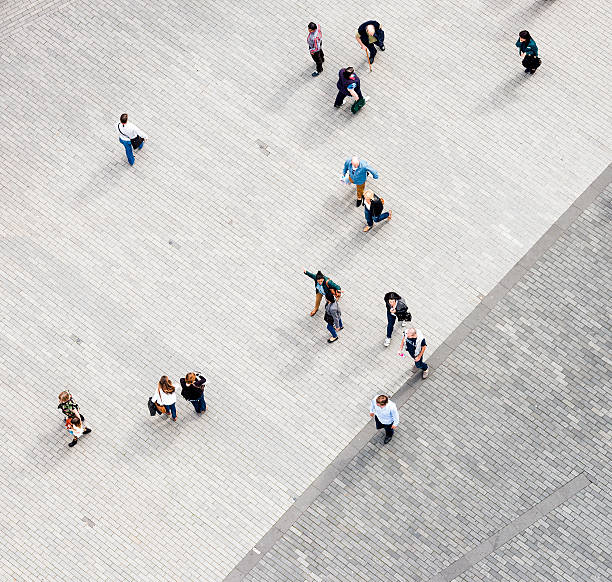 Pedestrians from directly above stock photo
