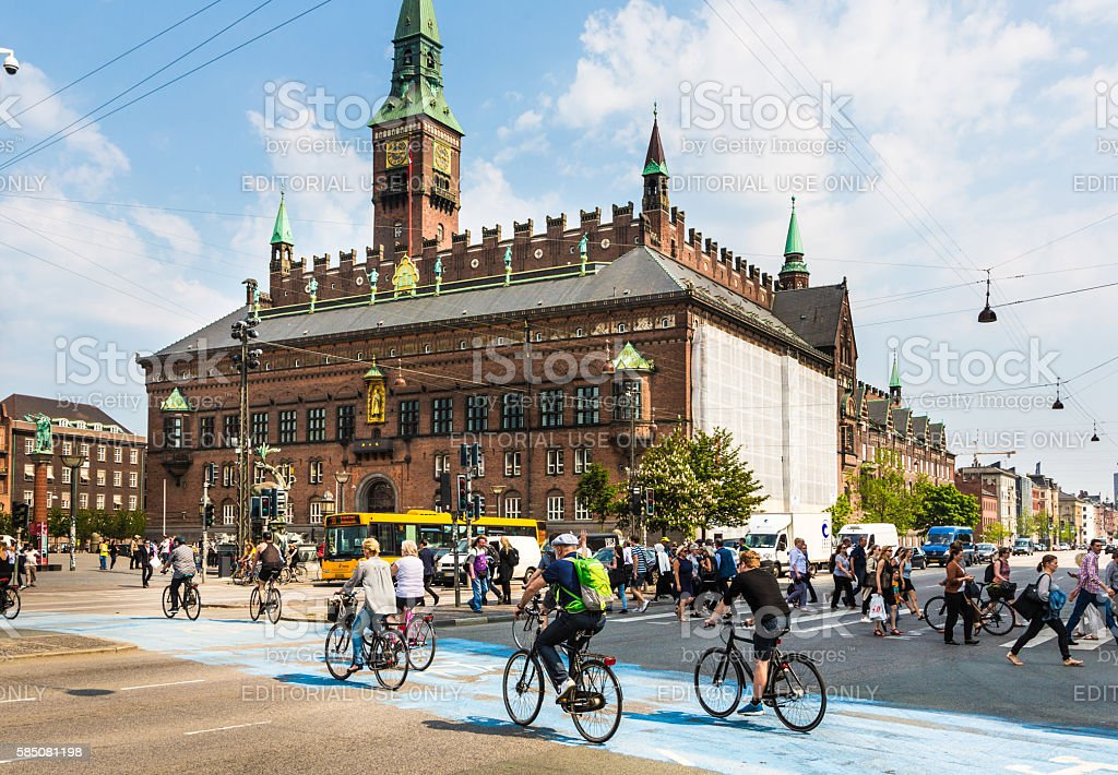 Pedestrians in Copenhagen stock photo