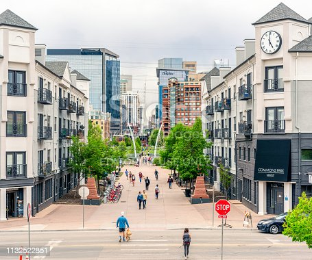 Denver, USA - People walking on a pedestrianized street in Denver's LoHi district, located near to the city centre.