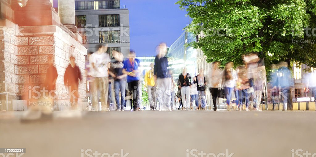 Pedestrians in motion, Malaga, evening royalty-free stock photo
