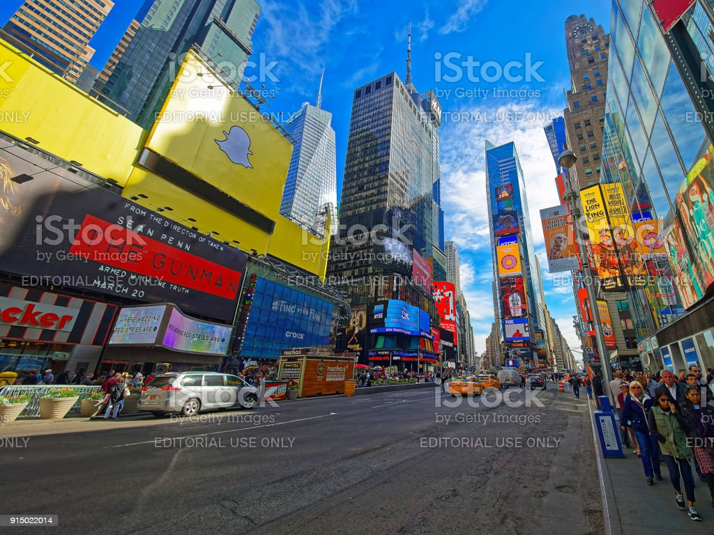 Pedestrians on Broadway and 7th Avenue Times Square USA stock photo