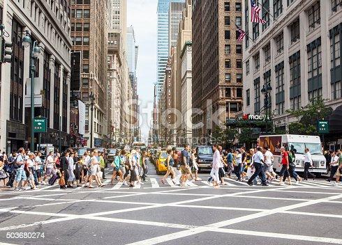 istock Pedestrians on zebra crossing, New York City 503680274