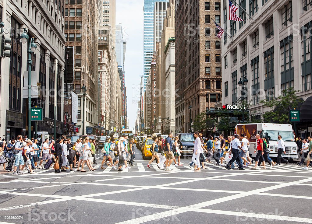 Pedestrians on zebra crossing, New York City stock photo