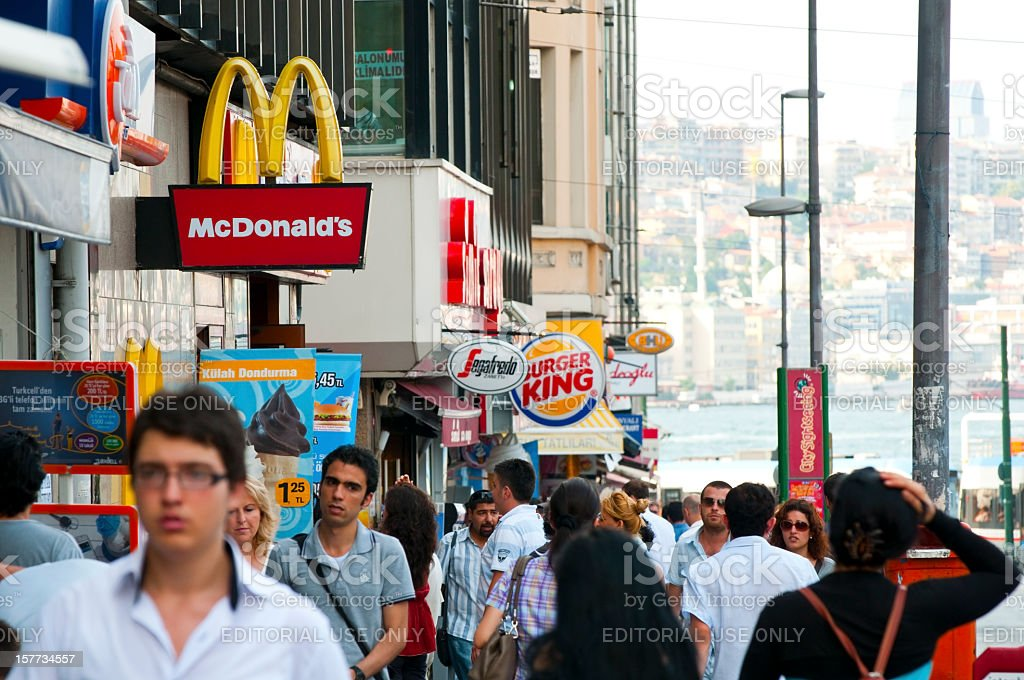 McDonald's and Burger King: Fast food in city stock photo