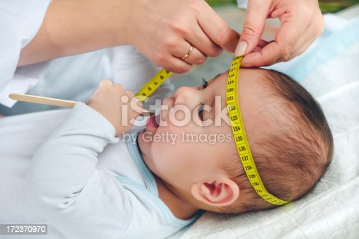 istock Pediatrician measuring baby's head 172370970