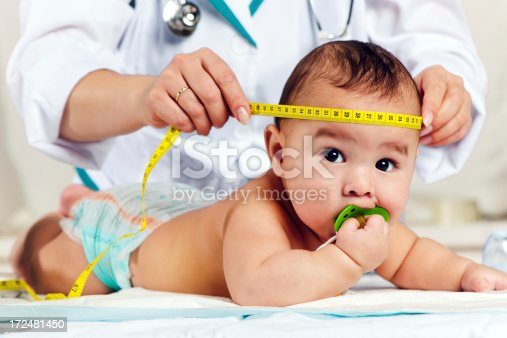 istock Pediatrician measuring baby's head 172481450
