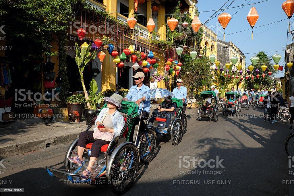 Pedicab at Hoi an old town,Viet nam stock photo