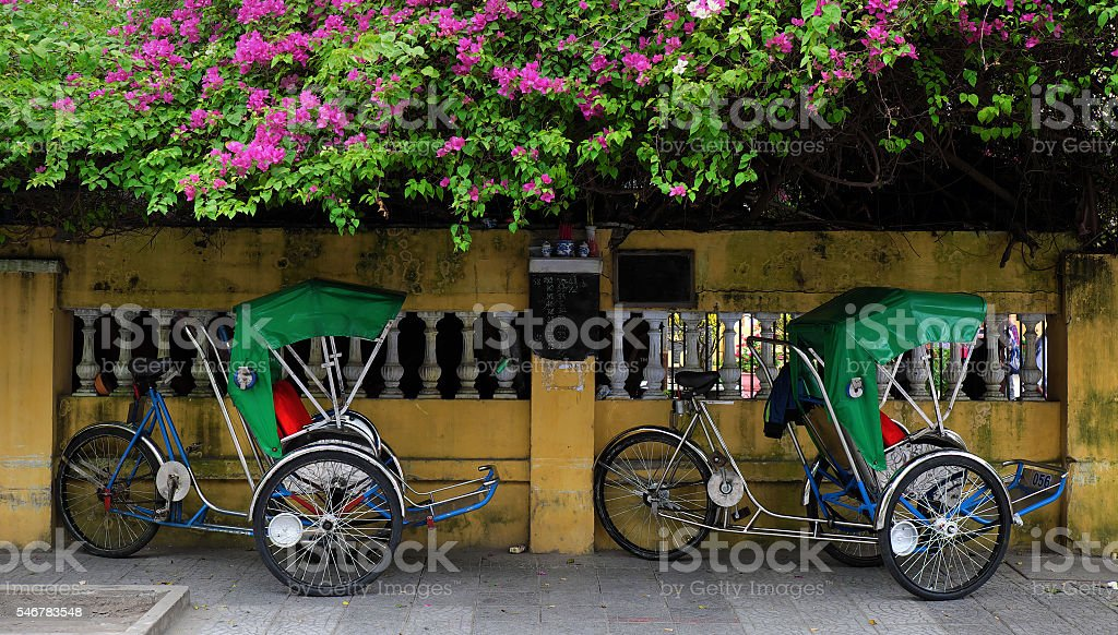 pedicab, eco transport vehicle stock photo