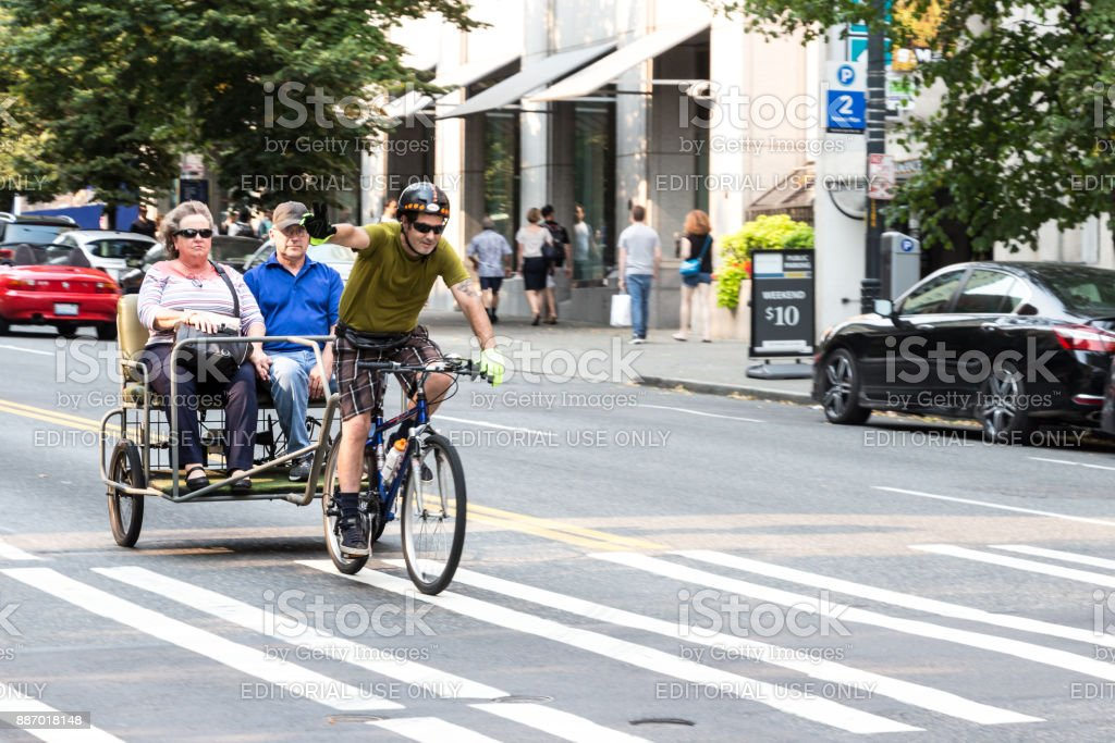 Pedicab in Seattle, Washington. stock photo