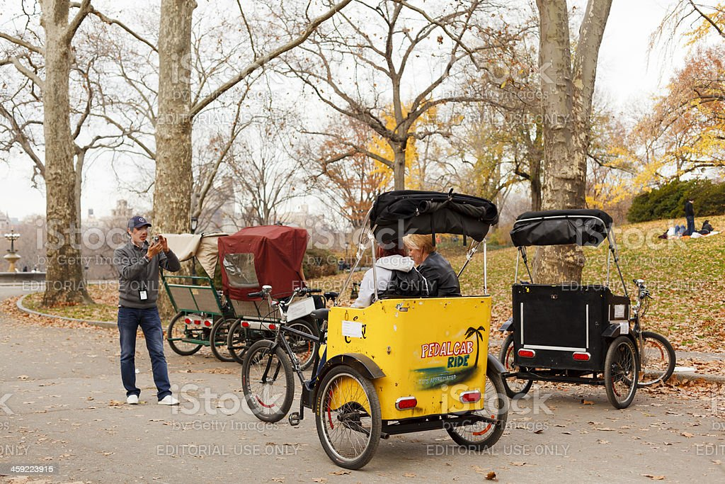 Pedicab Passengers Having Picture Taken Central Park Manhattan stock photo